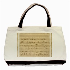 Vintage Beige Music Notes Basic Tote Bag