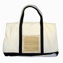 Vintage Beige Music Notes Two Tone Tote Bag