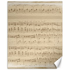 Vintage Beige Music Notes Canvas 11  X 14