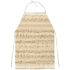Vintage Beige Music Notes Full Print Aprons