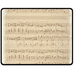 Vintage Beige Music Notes Fleece Blanket (medium)
