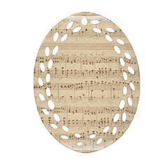 Vintage Beige Music Notes Oval Filigree Ornament (two Sides)