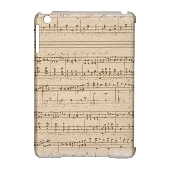 Vintage Beige Music Notes Apple iPad Mini Hardshell Case (Compatible with Smart Cover)