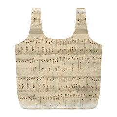 Vintage Beige Music Notes Full Print Recycle Bags (l)