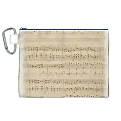 Vintage Beige Music Notes Canvas Cosmetic Bag (xl)