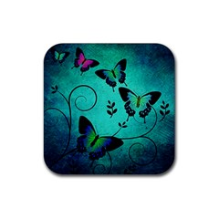 Texture Butterflies Background Rubber Coaster (square)