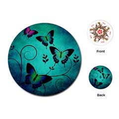 Texture Butterflies Background Playing Cards (round)