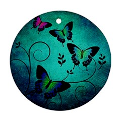Texture Butterflies Background Round Ornament (two Sides)