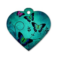 Texture Butterflies Background Dog Tag Heart (one Side)