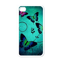 Texture Butterflies Background Apple Iphone 4 Case (white)