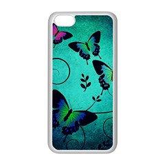 Texture Butterflies Background Apple Iphone 5c Seamless Case (white)