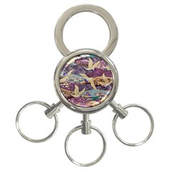 Textile Fabric Cloth Pattern 3 Ring Key Chains