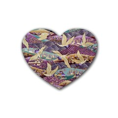 Textile Fabric Cloth Pattern Rubber Coaster (heart)