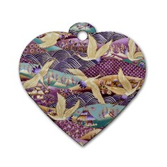 Textile Fabric Cloth Pattern Dog Tag Heart (two Sides)