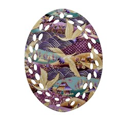 Textile Fabric Cloth Pattern Oval Filigree Ornament (two Sides)
