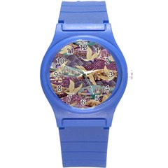 Textile Fabric Cloth Pattern Round Plastic Sport Watch (s)