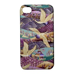 Textile Fabric Cloth Pattern Apple Iphone 4/4s Hardshell Case With Stand