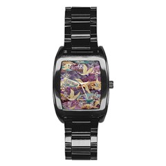 Textile Fabric Cloth Pattern Stainless Steel Barrel Watch