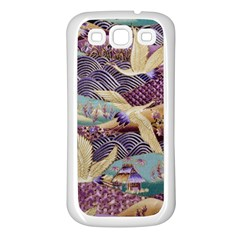Textile Fabric Cloth Pattern Samsung Galaxy S3 Back Case (white)