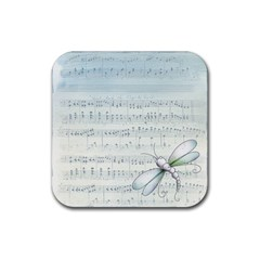 Vintage Blue Music Notes Rubber Coaster (square)