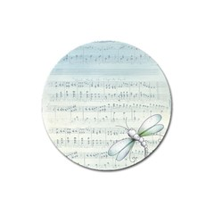 Vintage Blue Music Notes Magnet 3  (round)