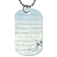 Vintage Blue Music Notes Dog Tag (two Sides)