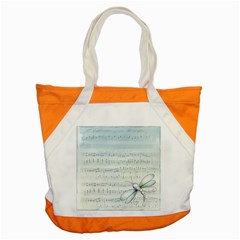 Vintage Blue Music Notes Accent Tote Bag