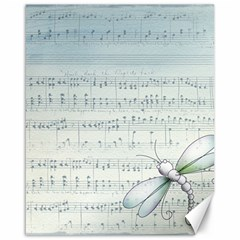 Vintage Blue Music Notes Canvas 16  X 20
