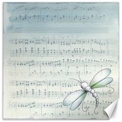 Vintage Blue Music Notes Canvas 20  X 20