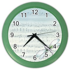 Vintage Blue Music Notes Color Wall Clocks