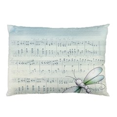Vintage Blue Music Notes Pillow Case (two Sides)