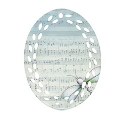 Vintage Blue Music Notes Oval Filigree Ornament (two Sides)