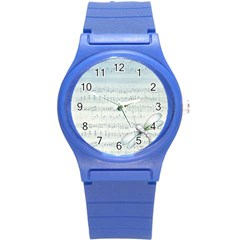 Vintage Blue Music Notes Round Plastic Sport Watch (s)