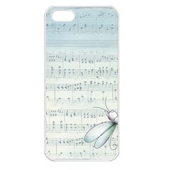 Vintage Blue Music Notes Apple Iphone 5 Seamless Case (white)