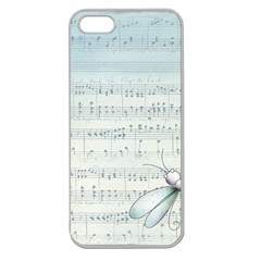 Vintage Blue Music Notes Apple Seamless Iphone 5 Case (clear)
