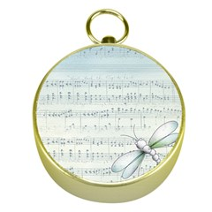 Vintage Blue Music Notes Gold Compasses