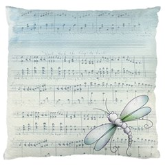 Vintage Blue Music Notes Large Flano Cushion Case (one Side)