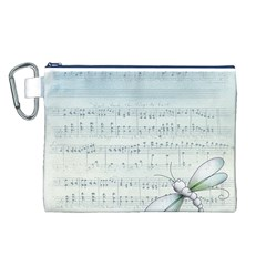Vintage Blue Music Notes Canvas Cosmetic Bag (l)