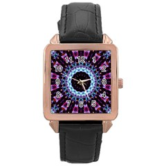 Kaleidoscope Shape Abstract Design Rose Gold Leather Watch