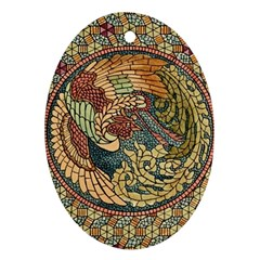 Wings Feathers Cubism Mosaic Ornament (oval)