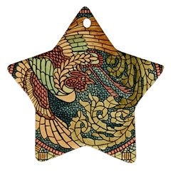 Wings Feathers Cubism Mosaic Ornament (star)