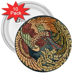 Wings Feathers Cubism Mosaic 3  Buttons (10 Pack)
