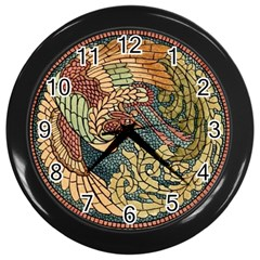 Wings Feathers Cubism Mosaic Wall Clocks (black)