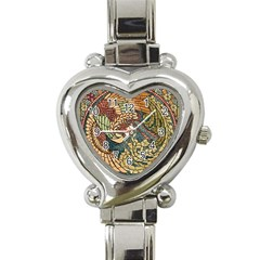 Wings Feathers Cubism Mosaic Heart Italian Charm Watch