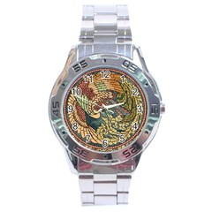 Wings Feathers Cubism Mosaic Stainless Steel Analogue Watch