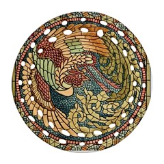 Wings Feathers Cubism Mosaic Round Filigree Ornament (two Sides)