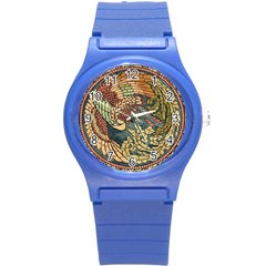 Wings Feathers Cubism Mosaic Round Plastic Sport Watch (s)