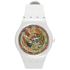 Wings Feathers Cubism Mosaic Round Plastic Sport Watch (m)