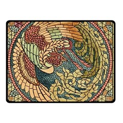 Wings Feathers Cubism Mosaic Double Sided Fleece Blanket (small)