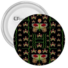 Roses In The Soft Hands Makes A Smile Pop Art 3  Buttons